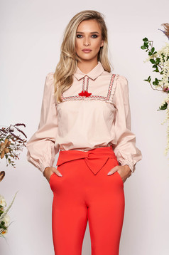 LaDonna cream casual flared women`s blouse nonelastic cotton with tassels