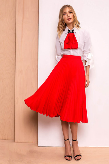 Fusta PrettyGirl rosie eleganta in clos plisata cu talie inalta