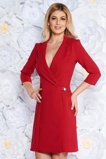 Rochie Artista rosie eleganta tip sacou cu croi in A din stofa usor elastica captusita pe interior