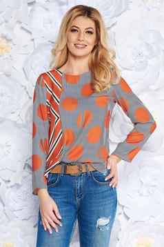 Bluza dama portocalie office cu croi larg din material vaporos cu maneci lungi