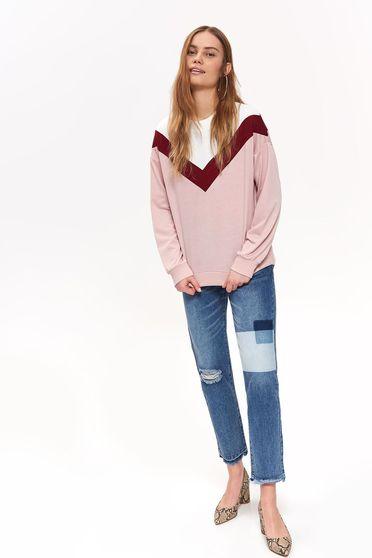Bluza dama Top Secret roz casual cu croi larg cu maneca lunga