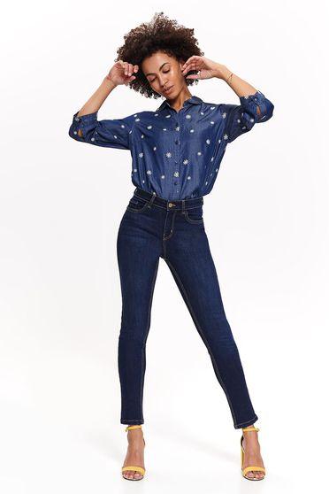 Camasa dama Top Secret albastra casual cu maneca 3/4 din material vaporos cu un croi drept accesorizata cu cordon