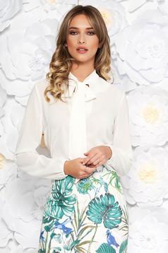 Bluza dama StarShinerS alba eleganta cu croi larg din voal cu guler tip esarfa