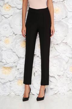 Pantaloni StarShinerS negri eleganti office cu talie inalta din material usor elastic cu buzunare