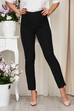 StarShinerS black trousers office high waisted slightly elastic fabric with pockets conical