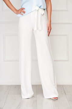 StarShinerS elegant accessorized with tied waistband white trousers slightly elastic fabric high waisted flared
