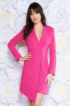 Rochie LaDonna roz eleganta tip sacou din stofa neelastica captusita pe interior cu maneci lungi