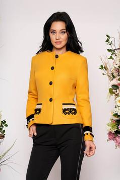 Sacou LaDonna mustariu din lana cambrat elegant tip blazer cu aplicatii cusute manual