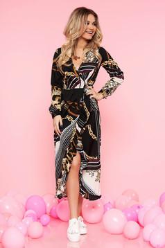 Rochie Top Secret neagra casual asimetrica din material subtire cu elastic in talie si volanase la baza rochiei