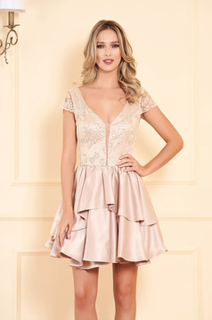 Artista cream occasional cloche dress from satin fabric texture with push-up cups with sequin embellished details