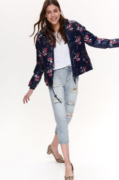 Darkblue jacket casual with pockets short cut with undetachable hood with floral print