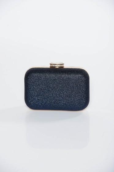 Geanta dama albastra-inchis plic de ocazie cu aspect metalic cu maner lung tip lantisor