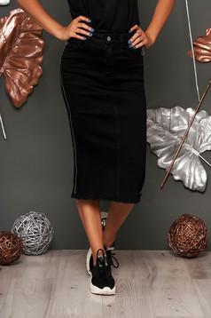 Fusta SunShine neagra casual midi cu talie inalta din bumbac elastic accesorizata cu fermoar
