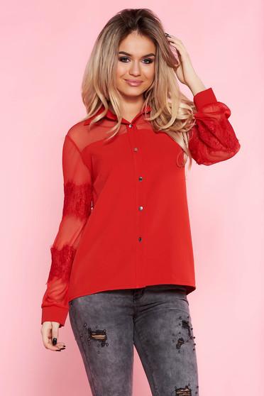 Camasa dama SunShine rosie eleganta cu croi larg din material neelastic cu maneci din dantela