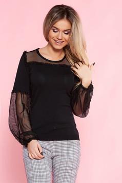Bluza dama SunShine neagra casual cu croi larg din material subtire cu maneci prinse in elastic