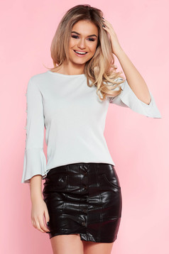 Bluza dama SunShine gri casual cu croi larg cu maneci clopot cu accesorii metalice si aplicatii cu perle
