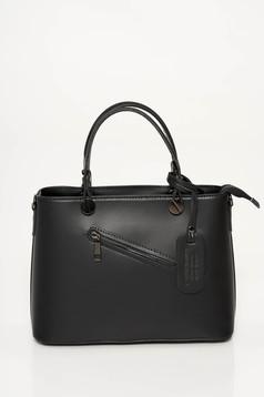 Geanta dama neagra office din piele naturala cu doua manere de lungime medie