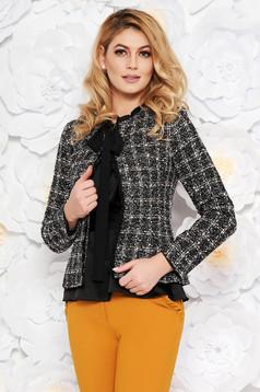 Sacou LaDonna negru elegant cu un croi cambrat din lana captusit pe interior cu aplicatii cu paiete