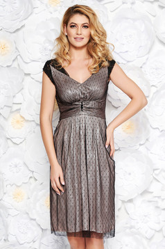 Black occasional midi cloche dress laced with inside lining with small beads embellished details