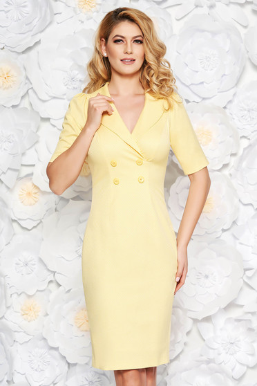 Rochie galbena eleganta midi tip creion din bumbac usor elastic captusita pe interior accesorizata cu nasturi