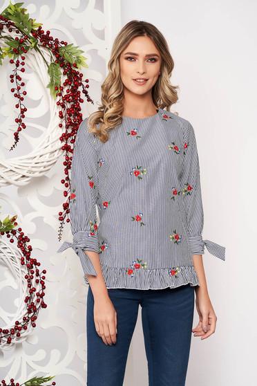 Bluza dama Artista gri casual cu croi larg cu imprimeuri florale cu volanase