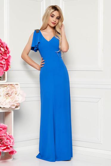 Rochie albastra de ocazie lunga din material fin la atingere captusita pe interior cu aplicatii cu margele