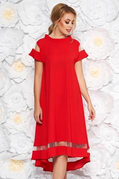 Rochie rosie eleganta cu croi larg asimetrica din material subtire cu maneci scurte