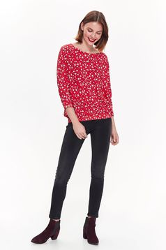 Top Secret red casual flared women`s blouse 3/4 sleeve thin fabric with floral print