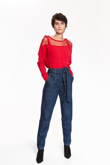 Pulover Top Secret rosu casual cu croi larg cu maneca lunga din material tricotat