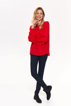 Top Secret red long sleeve flared women`s blouse airy fabric