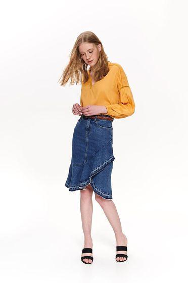 Bluza dama Top Secret galbena casual cu croi larg din material vaporos