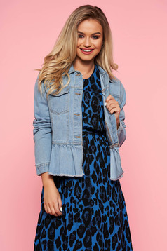 Geaca Top Secret albastra casual din denim cu un croi drept cu volanase