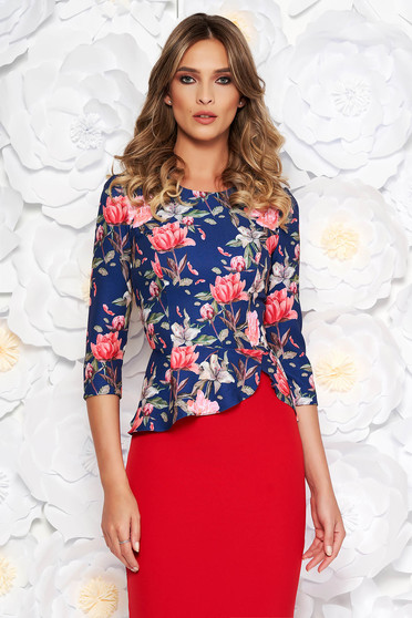 Bluza dama StarShinerS albastra eleganta scurta cu peplum din stofa neelastica cu imprimeuri florale