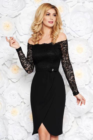 Rochie StarShinerS neagra eleganta midi din stofa si dantela accesorizata cu cordon