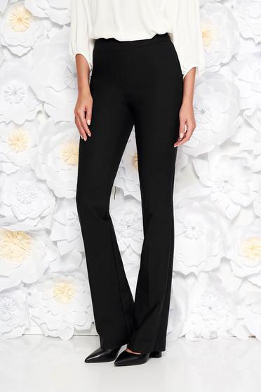 Pantaloni negri office evazati din bumbac neelastic cu talie medie