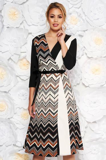 Rochie neagra de zi midi in clos din stofa subtire usor elastica cu snur in talie