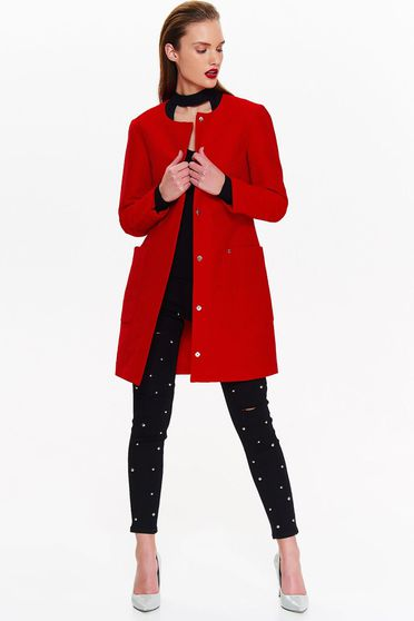 Palton Top Secret rosu casual cu un croi drept din material fin la atingere cu buzunare