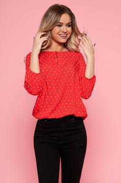 Bluza dama Top Secret rosie casual cu croi larg din material vaporos cu buline