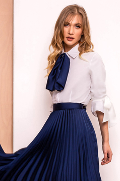 PrettyGirl darkblue elegant women`s shirt with tented cut slightly elastic fabric with 3/4 sleeves