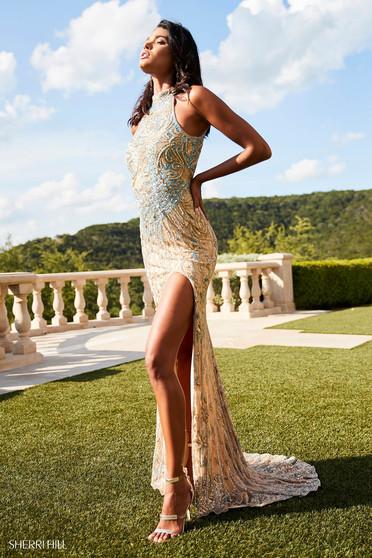 Rochie Sherri Hill 52426 Gold