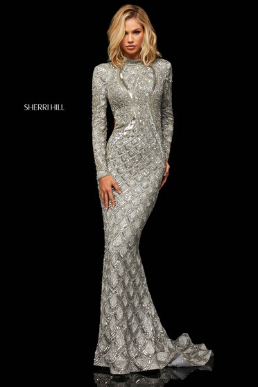 Rochie Sherri Hill 52916 silver