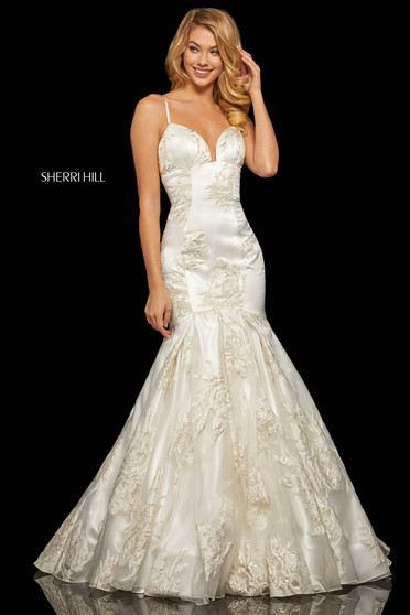 Rochie Sherri Hill 52951 ivory/gold