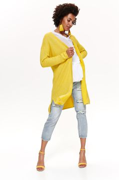 Cardigan Top Secret galben casual cu croi larg din bumbac neelastic cu maneci lungi