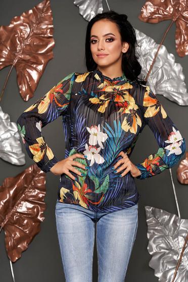 Bluza dama Top Secret albastru-închis casual cu croi larg din material vaporos cu imprimeuri florale
