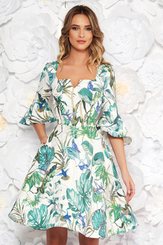 StarShinerS green dress daily cloche midi soft fabric with floral prints