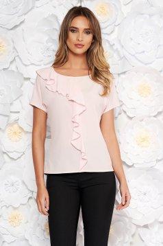 Bluza dama StarShinerS rosa cu maneca scurta cu volanase din material subtire