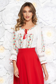 White embroidered blouse flared women`s blouse nonelastic cotton with laced details