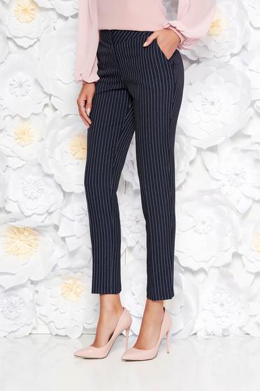 Pantaloni albastru închis office conici cu talie medie din stofa neelastica cu buzunare