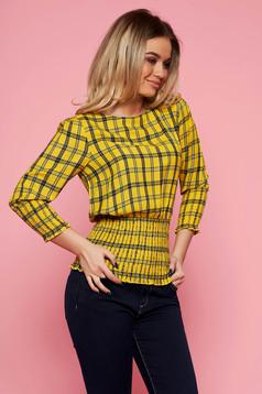 Bluza dama Top Secret galbena casual din material vaporos in carouri cu elastic in talie