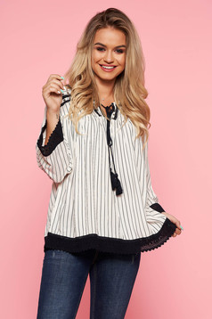 Top Secret white casual flared women`s blouse airy fabric with laced details